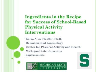 Ingredients in the Recipe for Success of School-Based Physical Activity Interventions