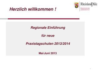 Regionale Einführung für neue  Praxistagschulen 2013/2014 Mai/Juni 2013