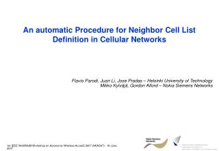 An automatic Procedure for Neighbor Cell List Definition in Cellular Networks