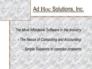 Ad  Hoc  Solutions, Inc.