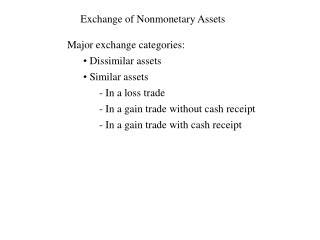 Exchange of Nonmonetary Assets