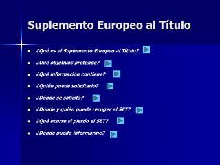 Suplemento Europeo al Título