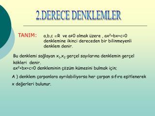 2.DERECE DENKLEMLER