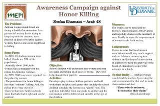 Awareness Campaign against  Honor Killing