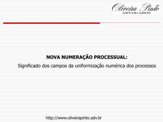 NOVA NUMERAÇÃO PROCESSUAL: Significado dos campos da uniformização numérica dos processos