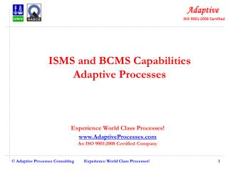 ISMS and BCMS Capabilities Adaptive Processes