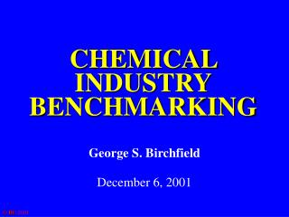 CHEMICAL INDUSTRY BENCHMARKING