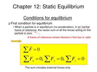 Chapter 12: Static Equilibrium