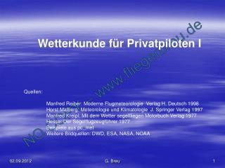 Wetterkunde für Privatpiloten I Quellen: