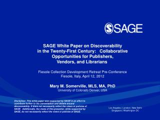 SAGE White Paper on Discoverability
