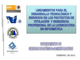 DEPARTAMENTO DE CIENCIAS  ECONÓMICO-ADMINISTRATIVAS