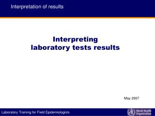 Interpreting  laboratory tests results