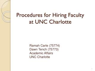 Procedures for Hiring Faculty  at UNC Charlotte