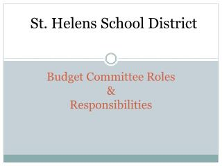 Budget Committee Roles & Responsibilities