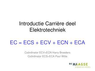 Introductie Carrière deel  Elektrotechniek EC = ECS + ECV + ECN + ECA