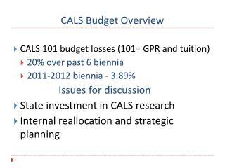 CALS Budget Overview
