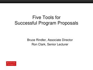 Five Tools for  Successful Program Proposals
