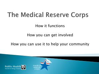 The Medical Reserve Corps