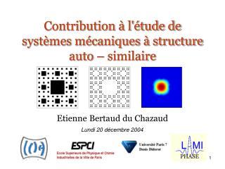 Contribution à l'étude de systèmes mécaniques à structure auto – similaire