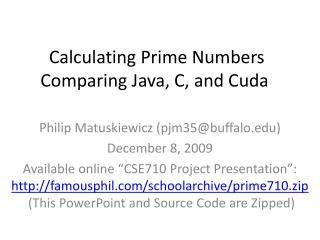Calculating Prime Numbers Comparing Java, C, and Cuda