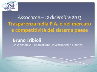Bruno Tribioli Responsabile Pianificazione, Investimenti e  Finanza