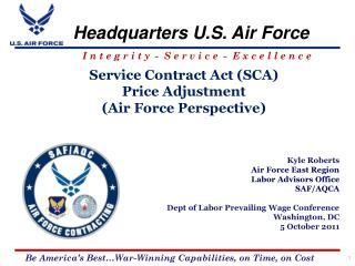 Service Contract Act SCA Price Adjustment  Air Force Perspective