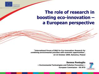The role of research in boosting eco-innovation –  a European perspective