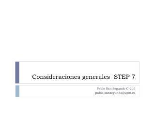 Consideraciones generales  STEP 7