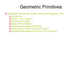 Geometric Primitives
