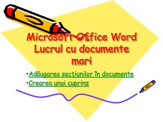 Microsoft Office Word Lucrul  cu  documente mari