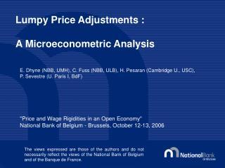 Lumpy Price Adjustments : A Microeconometric Analysis