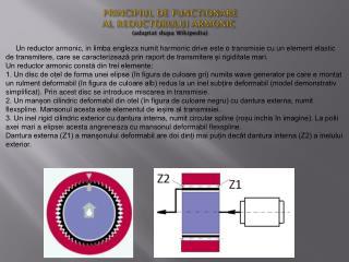 PRINCIPIUL DE FUNCTIONARE  AL REDUCTORULUI ARMONIC ( adaptat dupa  Wikipedia)