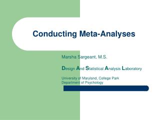 Conducting Meta-Analyses