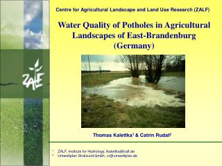 Water Quality of Potholes in Agricultural Landscapes of East-Brandenburg (Germany)