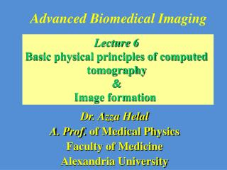 Advanced Biomedical Imaging