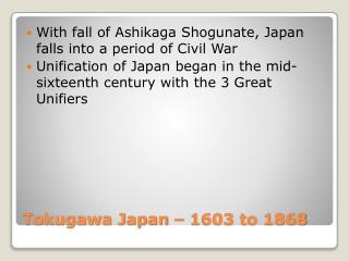 Tokugawa Japan   1603 to 1868