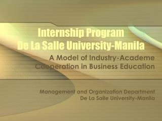 Internship Program  De La Salle University-Manila