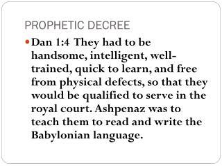 PROPHETIC DECREE