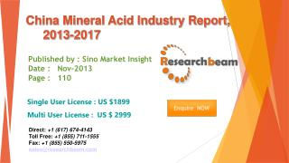 China Mineral Acid Market Size, Share, Study 2013-2017