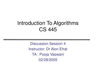 Introduction To Algorithms CS 445