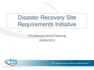 Disaster Recovery Site Requirements Initiative