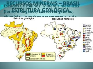 RECURSOS MINERAIS � BRASIL     ESTRUTURA GE0L�GICA