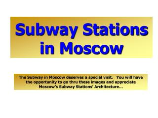 Subway Stations in  Mosco w