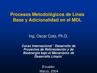 Procesos Metodológicos de Línea Base y Adicionalidad en el MDL