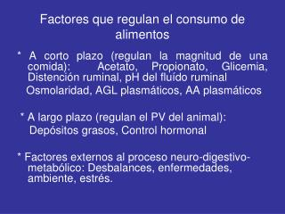 Factores que regulan el consumo de alimentos