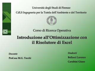 Università degli Studi di Firenze CdLS Ingegneria per la Tutela dell'Ambiente e del Territorio