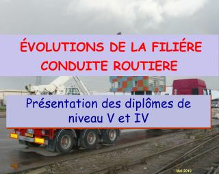 ÉVOLUTIONS DE LA FILIÉRE CONDUITE ROUTIERE