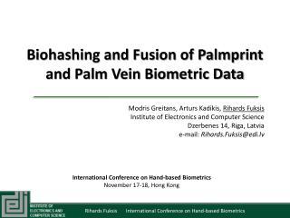 Biohashing and Fusion of Palmprint and Palm Vein Biometric Data