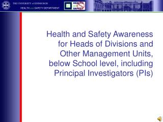 UK and European Health and Safety Law  University Health and Safety Policy
