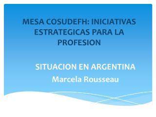 MESA COSUDEFH: INICIATIVAS ESTRATEGICAS PARA LA  PROFESION